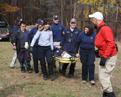 SAR litter carry with Stokes basket